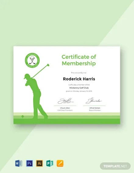 FREE Golf Club Membership Certificate Template Download 435+