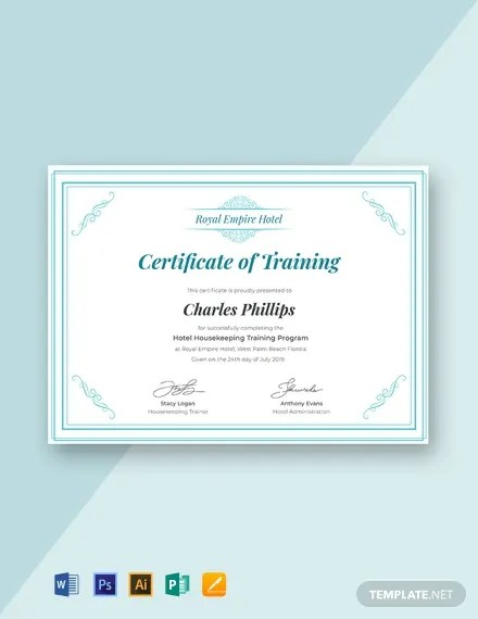 FREE Hotel Training Certificate Template Download 435+ Certificates