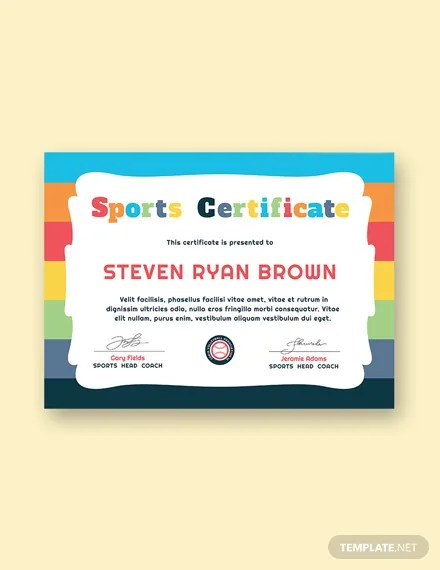 8+ FREE Sports Certificate Templates Download Ready-Made