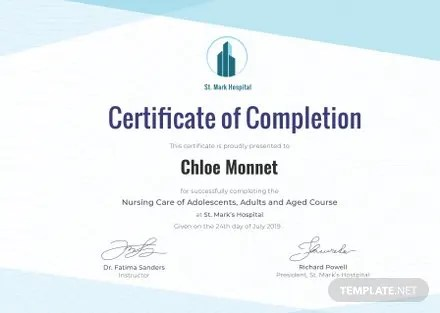 Free Nurse Training Certificate Template Free Templates
