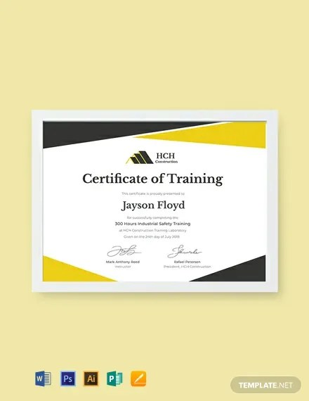 FREE Safety Training Certificate Template Download 435+