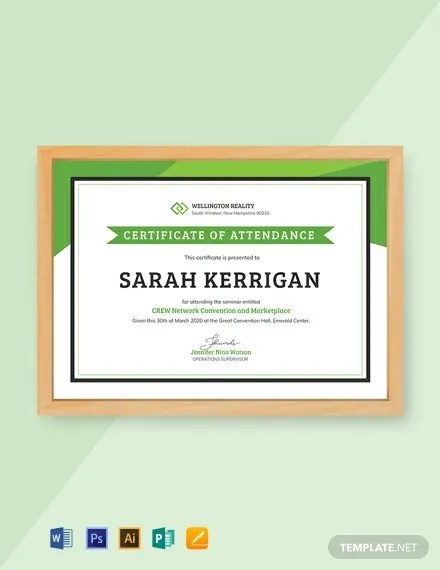 FREE Workshop Attendance Certificate Template Download 435+