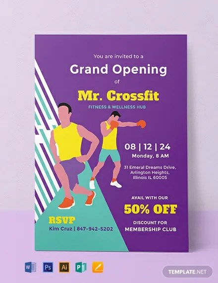 Invitation Card Template Psd Free Gym Opening Invitation Template - Word | Psd
