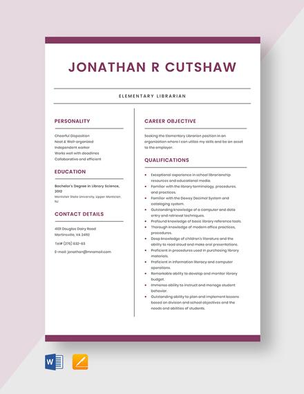 music librarian resume