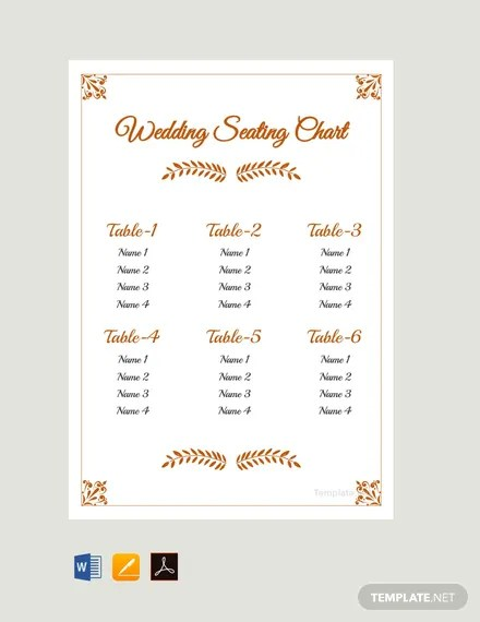FREE Simple Wedding Reception Seating Chart Template Download 175+