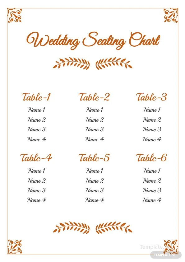 Wedding Reception Seating Chart Template in Microsoft Word