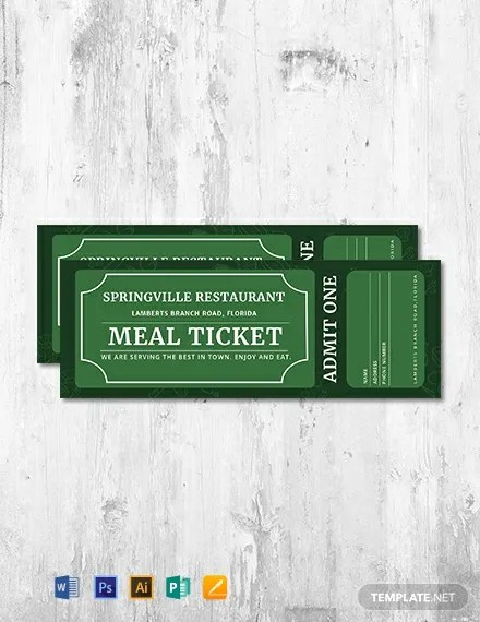 FREE Meal Ticket Template Download 101+ Tickets in PSD, Word