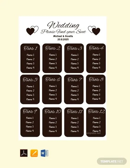 FREE Blank Wedding Seating Chart Template Download 175+ Charts in