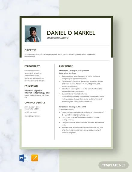 embedded programmer resume sample