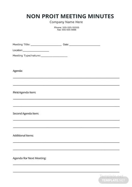 Non Profit Meeting Minutes Template in Microsoft Word, PDF, Apple - meeting minutes template microsoft word