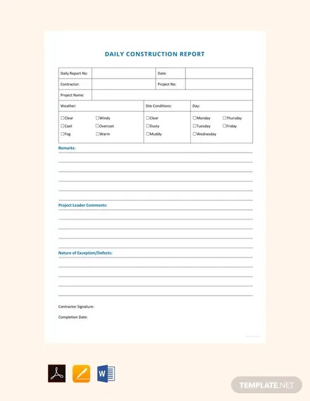 FREE Daily Construction Report Sample Template Download 458+