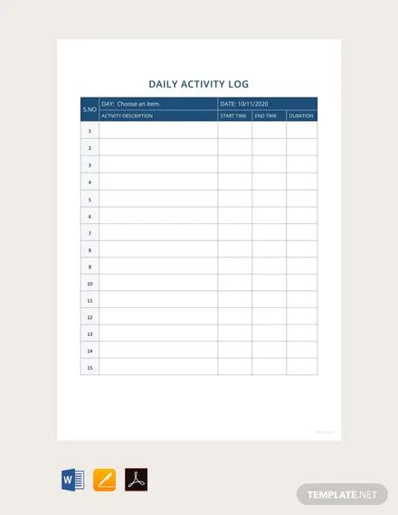 daily activity report format samples