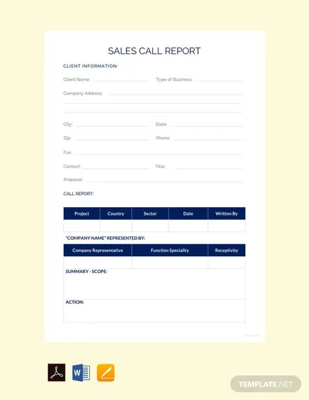 free sales call report template download 154 reports in word