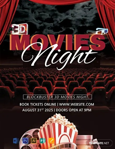 FREE 3D Movies Night Flyer Template Download 812+ Flyers in PSD