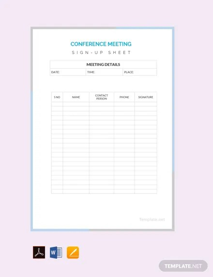 FREE Conference Sign Up Sheet Template Download 239+ Sheets in Word