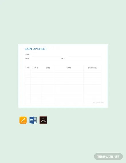 FREE Sports Sign Up Sheet Template Download 239 Sheets In Word