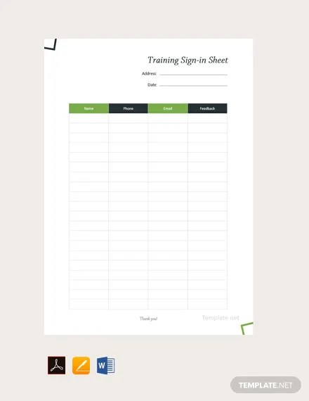 FREE Training Sign Sheet Template Download 536+ Sheets in Word, PDF