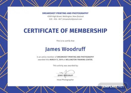 Free Membership Certificate Template in PSD, MS Word, Publisher - membership certificate template