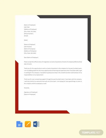 FREE Sample Exit Letter Template Download 2191+ Letters in Word