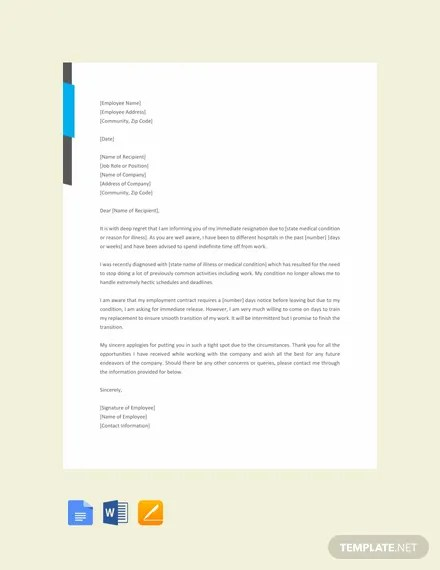 FREE Immediate Resignation Letter Due to Illness Template Download