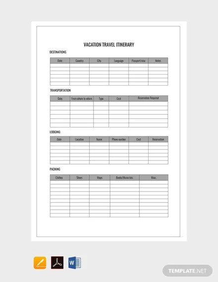 FREE Vacation Itinerary Template Download 22+ Itinerary in Word