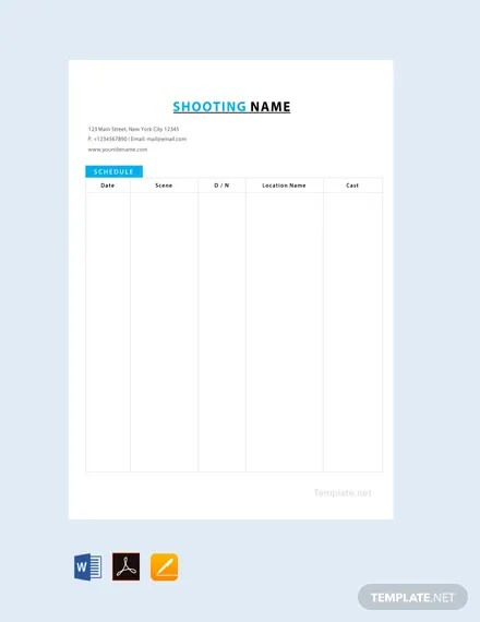 FREE Film Shooting Schedule Template Download 264+ Schedules in