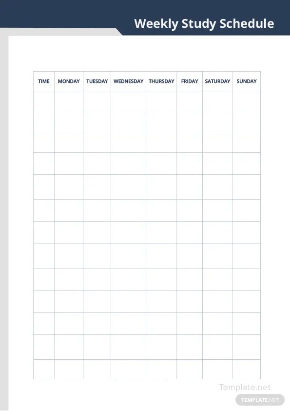Weekly Study Schedule Template in Microsoft Word Templatenet