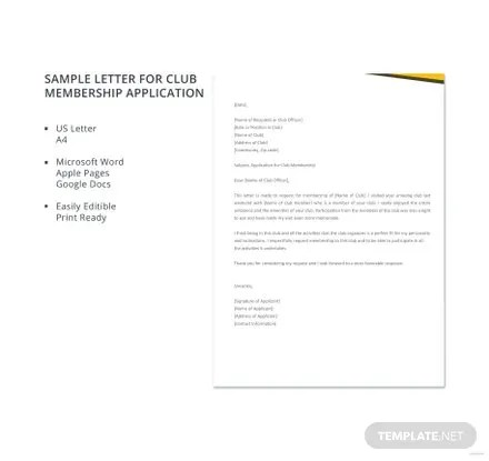 Sample Application Letter for Club Membership Template in Microsoft