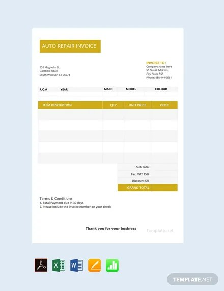 FREE Auto Repair Invoice Template Download 156+ Invoices in Word