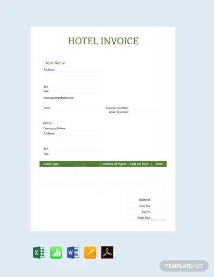 FREE Sample Hotel Invoice Template Download 156+ Invoices in Word