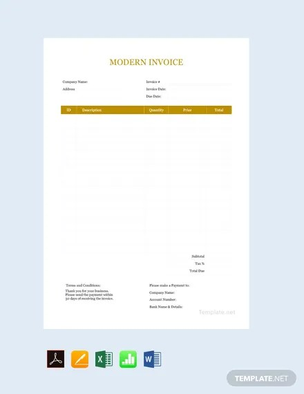 FREE Modern Invoice Template Download 156+ Invoices in Word, Excel