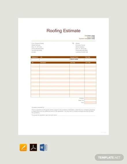 FREE Roofing Estimate Template Download 529+ Sheets in Word, PDF