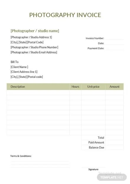 Sample Photography Invoice Template in Microsoft Word, Excel, PDF