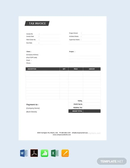 FREE Tax Invoice Template Download 156+ Invoices in Word, Excel