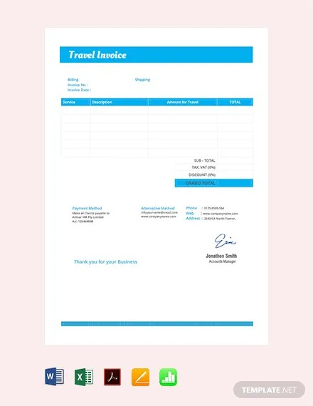 FREE Travel Invoice Template Download 156+ Invoices in Word, Excel