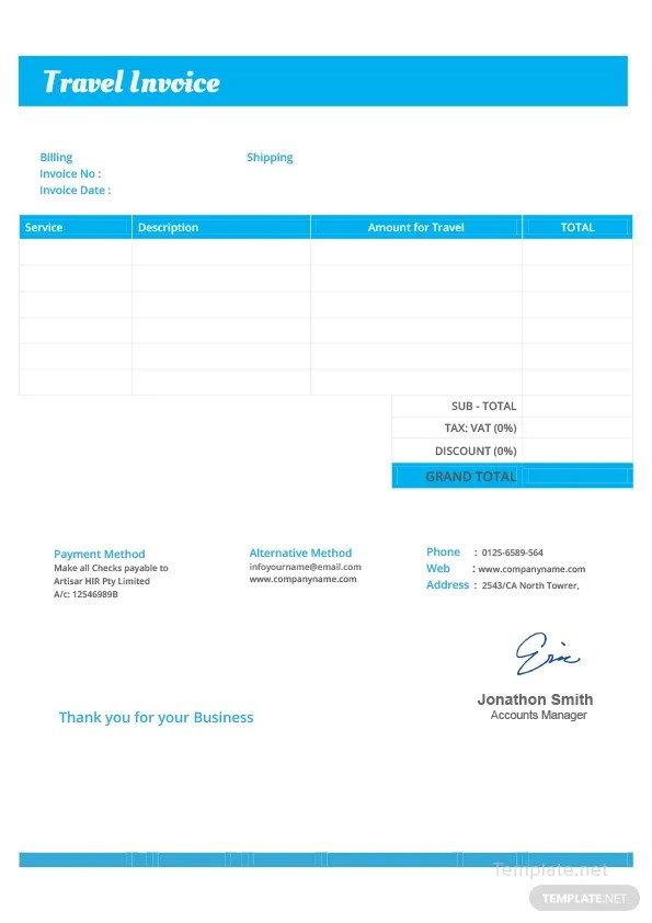 travel invoice template - Alannoscrapleftbehind - travel invoices