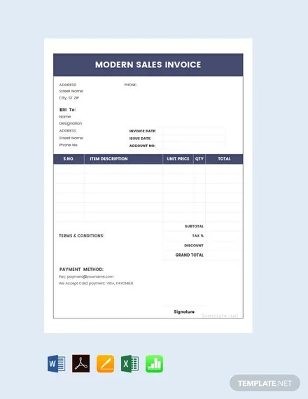FREE Modern Sales Invoice Template Download 156+ Invoices in Word