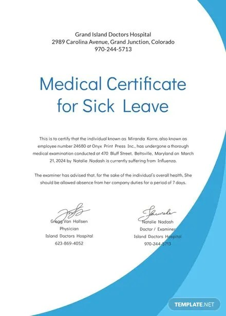 Medical Certificate Format for Sick Leave Template in Adobe - medical certificate for sick leave