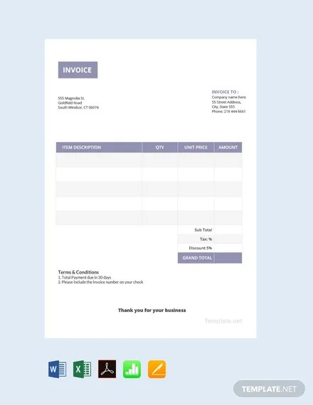 FREE Basic Invoice Template Download 156+ Invoices in Word, Excel