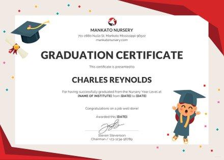 Free Nursery Graduation Certificate Template in PSD, MS Word - graduation certificate