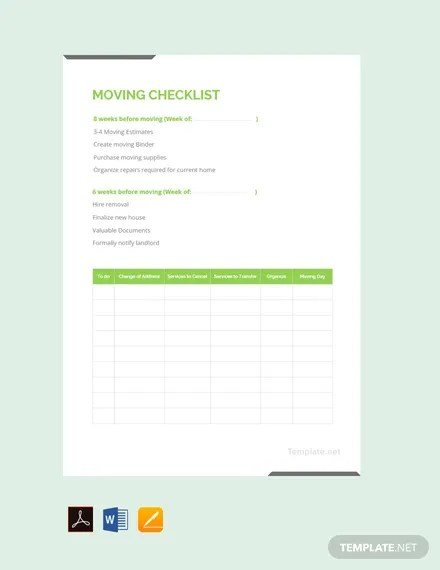 FREE Moving Checklist Template Download 149+ Checklists in Word