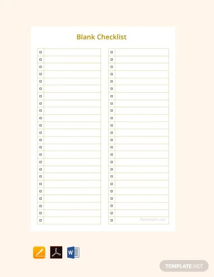 FREE Blank Checklist Template Download 149+ Checklists in Word, PDF