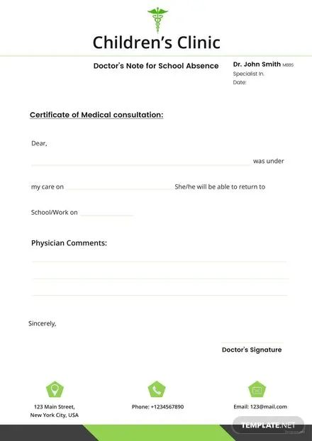 doctors note for school absence template