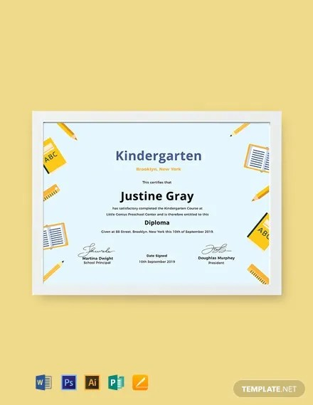 FREE Kindergarten Diploma Certificate Template Download 435+