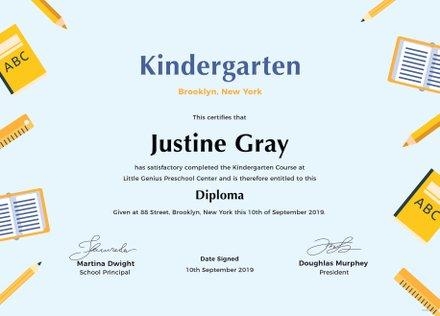 Kindergarten Diploma Certificate Template in Adobe Photoshop