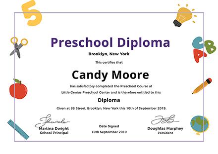 FREE Preschool Diploma Certificate Template Download 200+