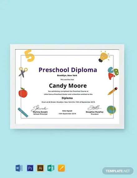 FREE Preschool Diploma Certificate Template Download 435+