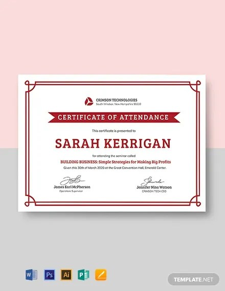 FREE Simple Attendance Certificate Template Download 435+