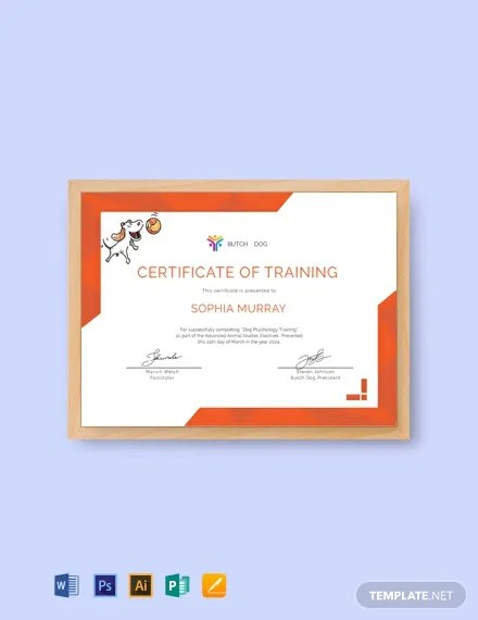 FREE Dog Training Certificate Template Download 435+ Certificates