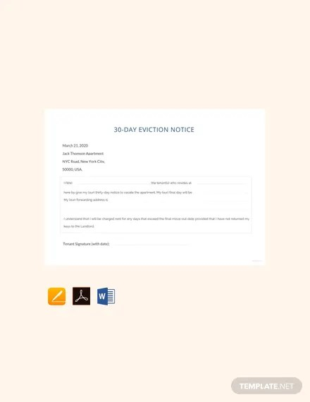 FREE 30 Day Eviction Notice Template Download 64+ Notices in Word